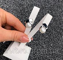 Срібні родированные сережки з білим перлами Тая
