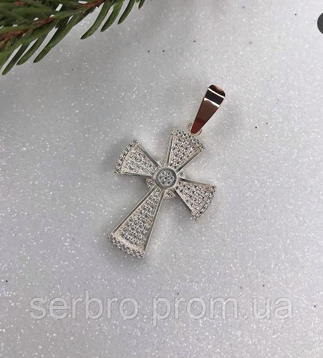 Крестик в серебре с золотом и россыпью цирконов Иванна