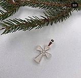 Крестик в серебре с золотом и россыпью цирконов Иванна, фото 2