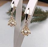 Серебряные сережки с золотом и белым жемчугом Динара, фото 2