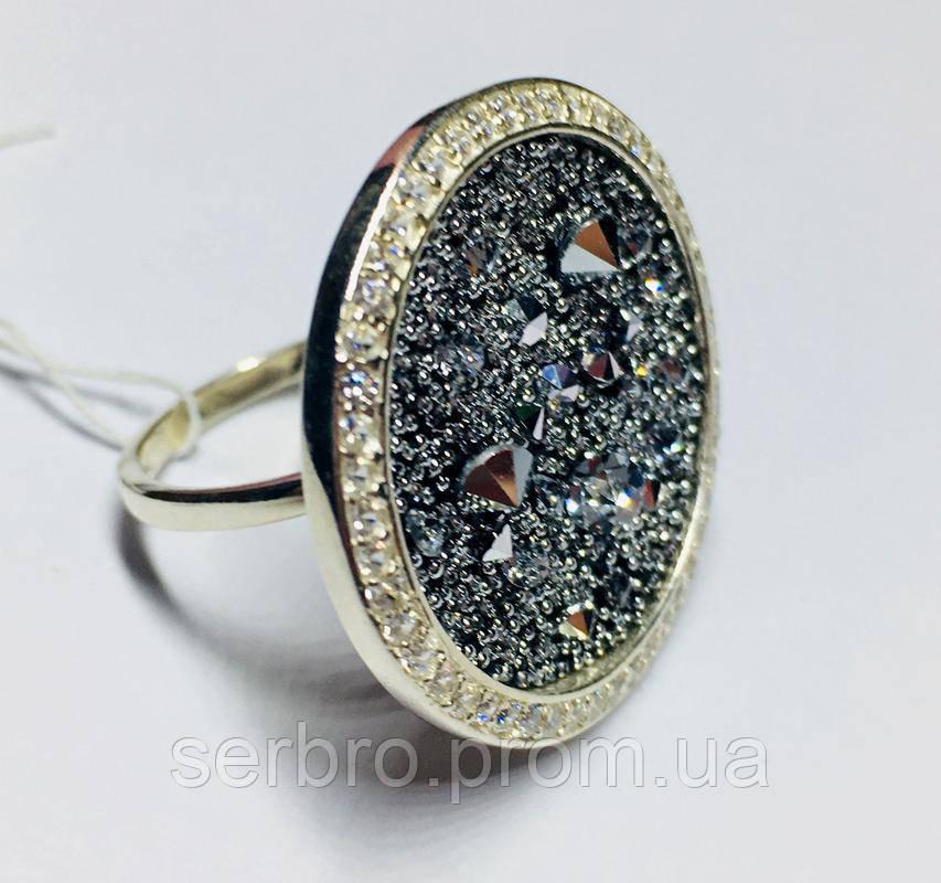 Кругле кільце срібло з золотом і камінням Swarovski Марісабель