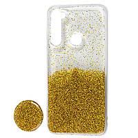 "Чехол для Xiaomi Redmi Note 8 Fashion блестки + popsocket ""золотистый"""