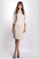 Платье женское светлое до колена с рукавом 3/4 MIRABELLE