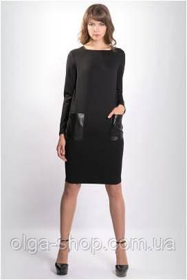 Платье женское черное до колена с длинным рукавом MIRABELLE