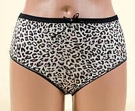 Высокие женские трусы Леопард черный 50 размер