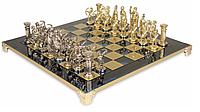 """Шахматы """"Лучники"""" Manopoulos из латуни в деревянном футляре, доска синяя, 28х28 см"""