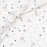 """Отрез ткани с цифровой печатью """"Точечные звёзды и треугольники"""" на белом №2447с размер 62*155, фото 2"""