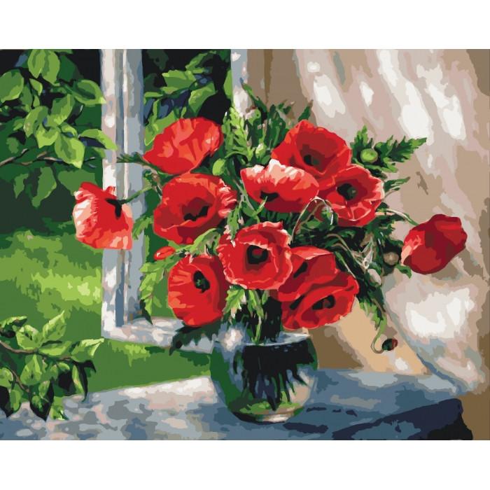 Картина по номерам Маки на підвіконні КНО2098 40x50см Идейка