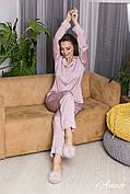 Пижама шелковая с кантом в горошек  женская