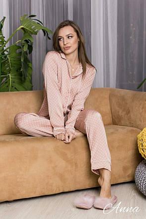 Пижама шелковая с кантом в горошек  женская, фото 2