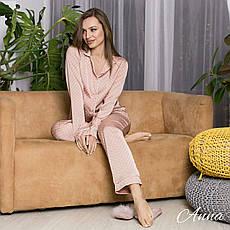 Пижама шелковая с кантом в горошек  женская, фото 3