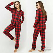 Пижама в клетку красная байковая женская