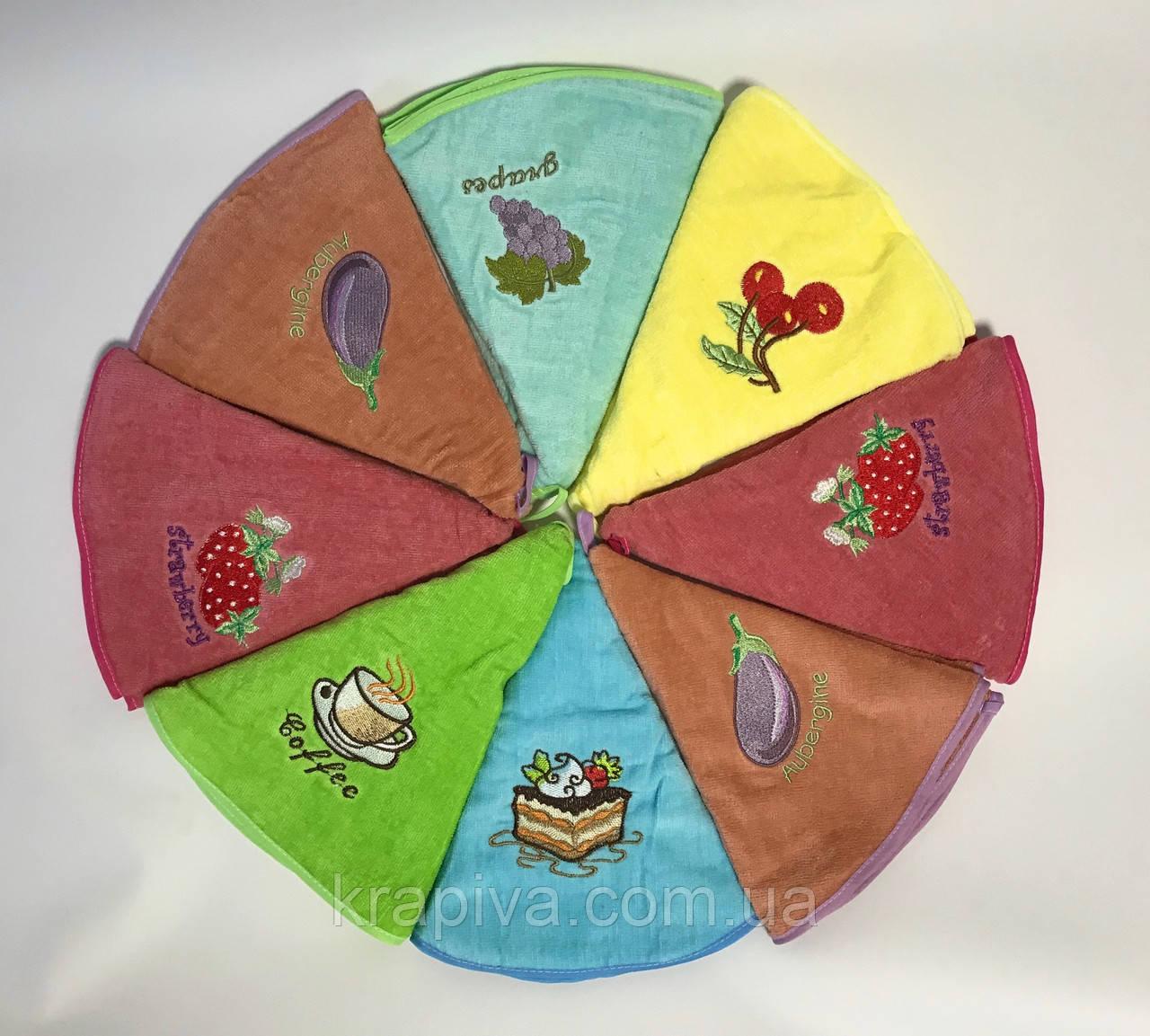 Набор 4 шт полотенец 55 см, круглое с петелькой, набір рушник для кухні, кухонное