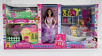 Кукла с девочками, спальня с мебелью, детская площадка с домиком и качель, ванная комната