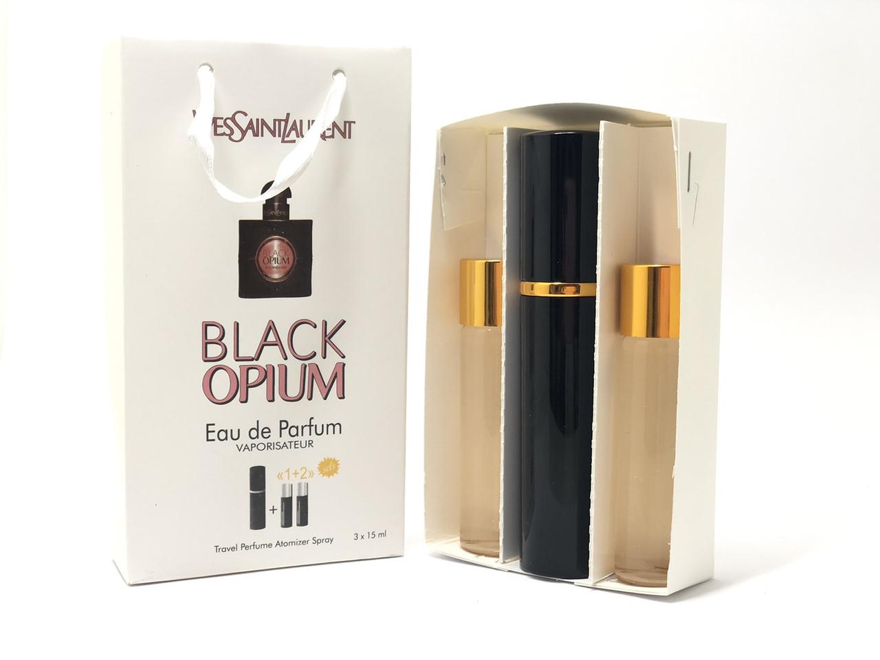 Подарочный парфюмерный набор с феромонами женский Y.S.Laurent Black Opium 3х15 мл