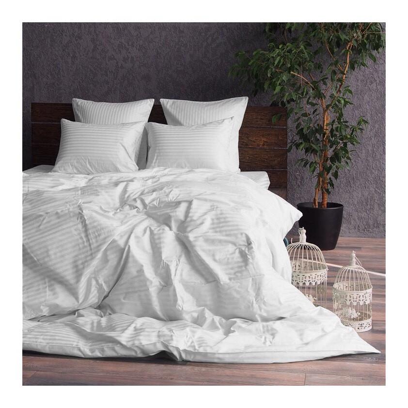 Комплект постельного белья страйп сатин белый двуспальный