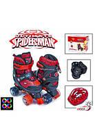 """Ролики-квады Disney """"Человек паук"""". Красные S (размер 29-33) шлем и защита в комплекте"""