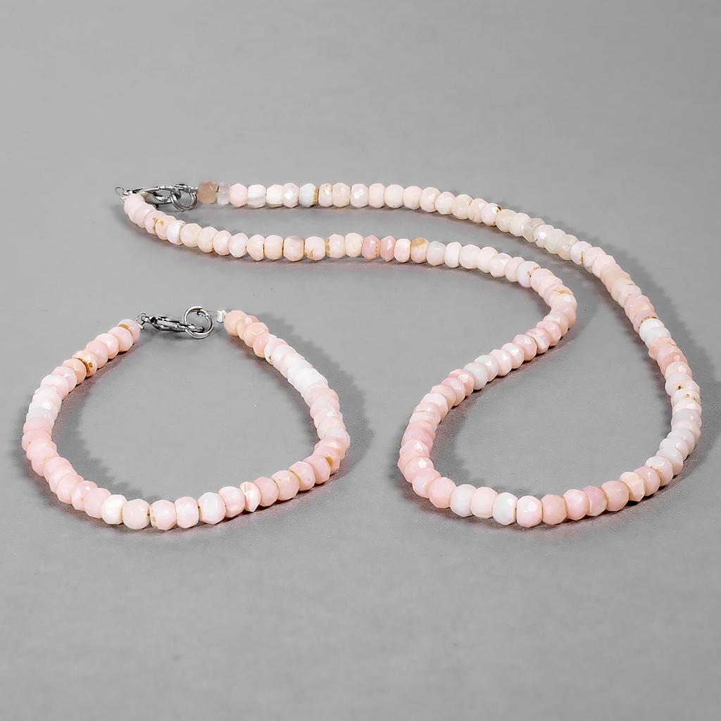 Комплект браслет и бусы из розового граненого опала, Ø5*3,5 мм., 059НО