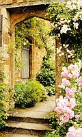 Фотообои на флизелиновой основе - Арка со ступеньками и розы (ширина рулона -1,03м)