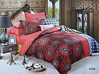 Сатиновое постельное белье полуторное ELWAY 4206 «Абстракция»