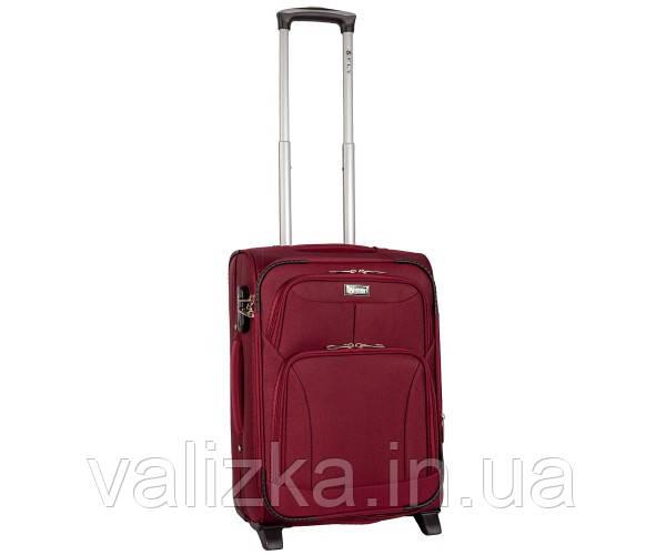 Текстильный чемодан маленький для ручной клади Golden Horse на двух колесах бордовый