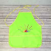 Фартук с нарукавниками детский для трудов, рисования, кухни - лимонный цвет (кисти и краски)