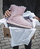 Женские Угги Ugg Mini РОЗОВЫЕ Натуральная Кожа / Овчина Водоотталкивающая пропитка, женская зимняя обувь, фото 2