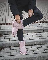 Женские Угги Ugg Mini РОЗОВЫЕ Натуральная Кожа / Овчина Водоотталкивающая пропитка, женская зимняя обувь, фото 3