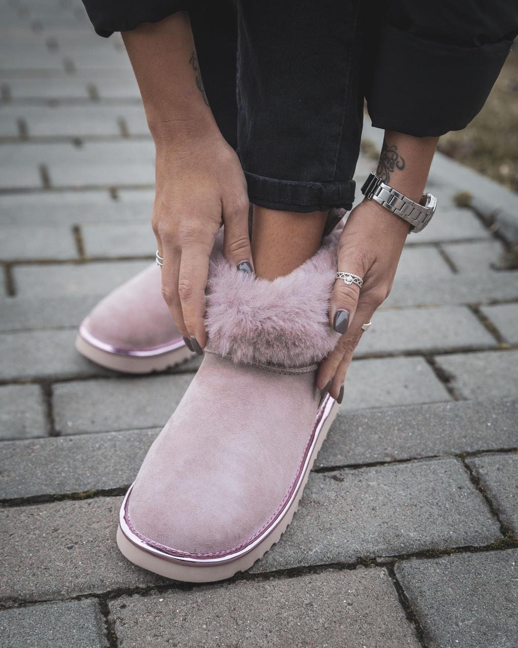 Женские Угги Ugg Mini РОЗОВЫЕ Натуральная Кожа / Овчина Водоотталкивающая пропитка, женская зимняя обувь