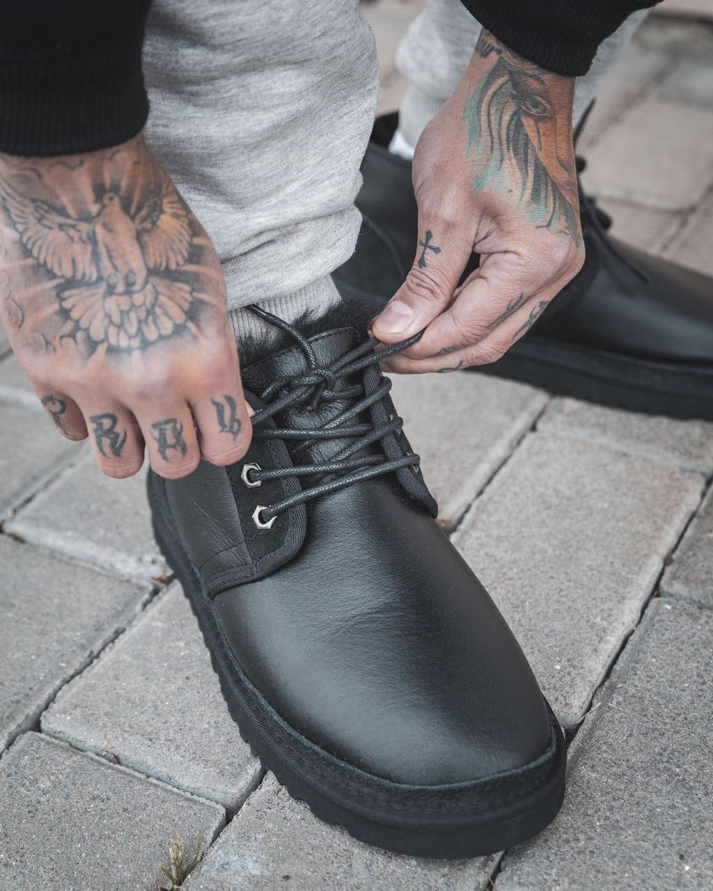 Мужские Ugg Натуральная Кожа Угги/Овчина, Черные, Водоотталкивающая пропитка, Мужские зимние ботинки