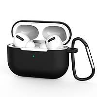 Силиконовый чехол для Apple Airpods Pro (чехол+карабин) (black)