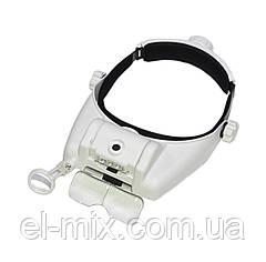 Лупа-очки бинокулярная с led-подсветкой MG82000M  (1x, 1.5x, 2.0x, 2.5x, 3.5x, комбинирование)  14-0226