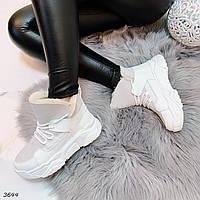 Зимние серые ботинки на шнуровке, фото 1