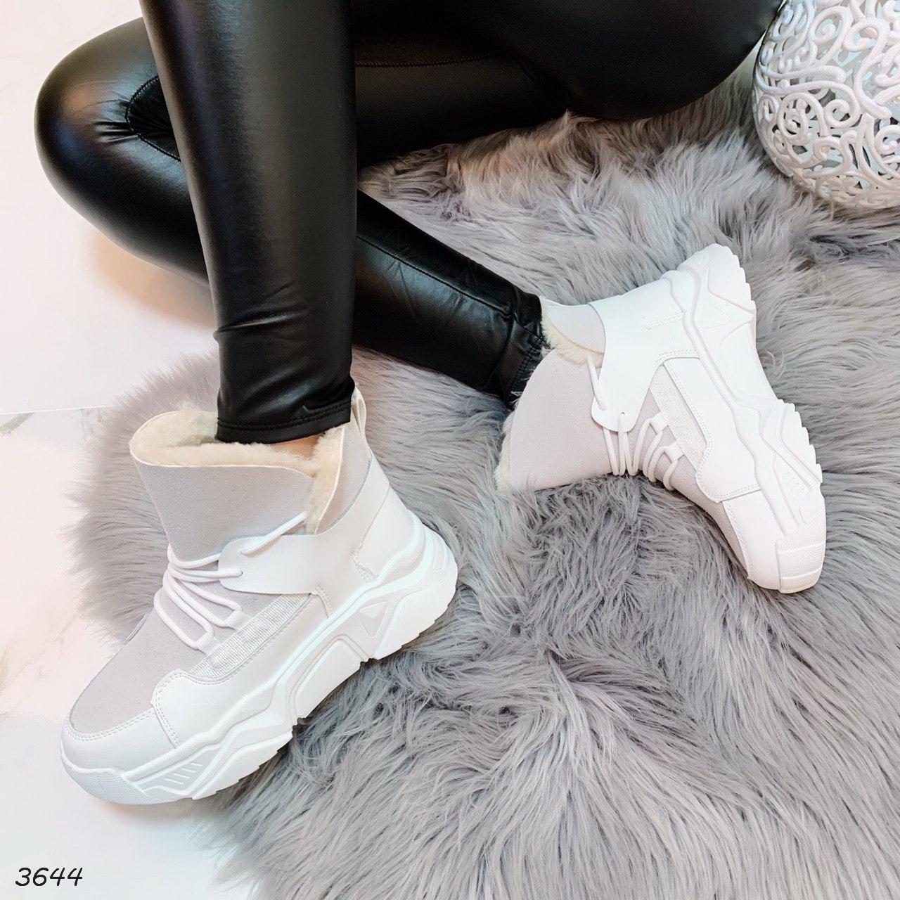 Зимние серые ботинки на шнуровке