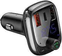 FM трансмиттер модулятор Baseus T-Typed MP3 Car Charger S-13 Bluetooth 5.0 2USB(3.4A) + 1Type-C(5А)