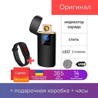 LIGHTER - спиральная сенсорная USB зажигалка, электронная, импульсная, с индикатором +подарочная коробка +часы