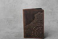 """Обложка для паспорта, обложка из натуральной кожи с тиснением """"Цветы"""" шоколадного цвета, фото 1"""