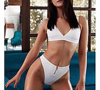 Красивый утонченный белый купальник с завышеной талией S, М, L