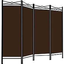 Ширма с металлическим каркасом в средиземноморском стиле, коричневая