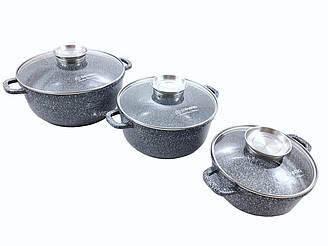 Набор посуды Edenberg EB-8020 (6 предметов) мраморное покрытие | кастрюля с крышкой | кастрюли | 2.6/4.6/6.7 л