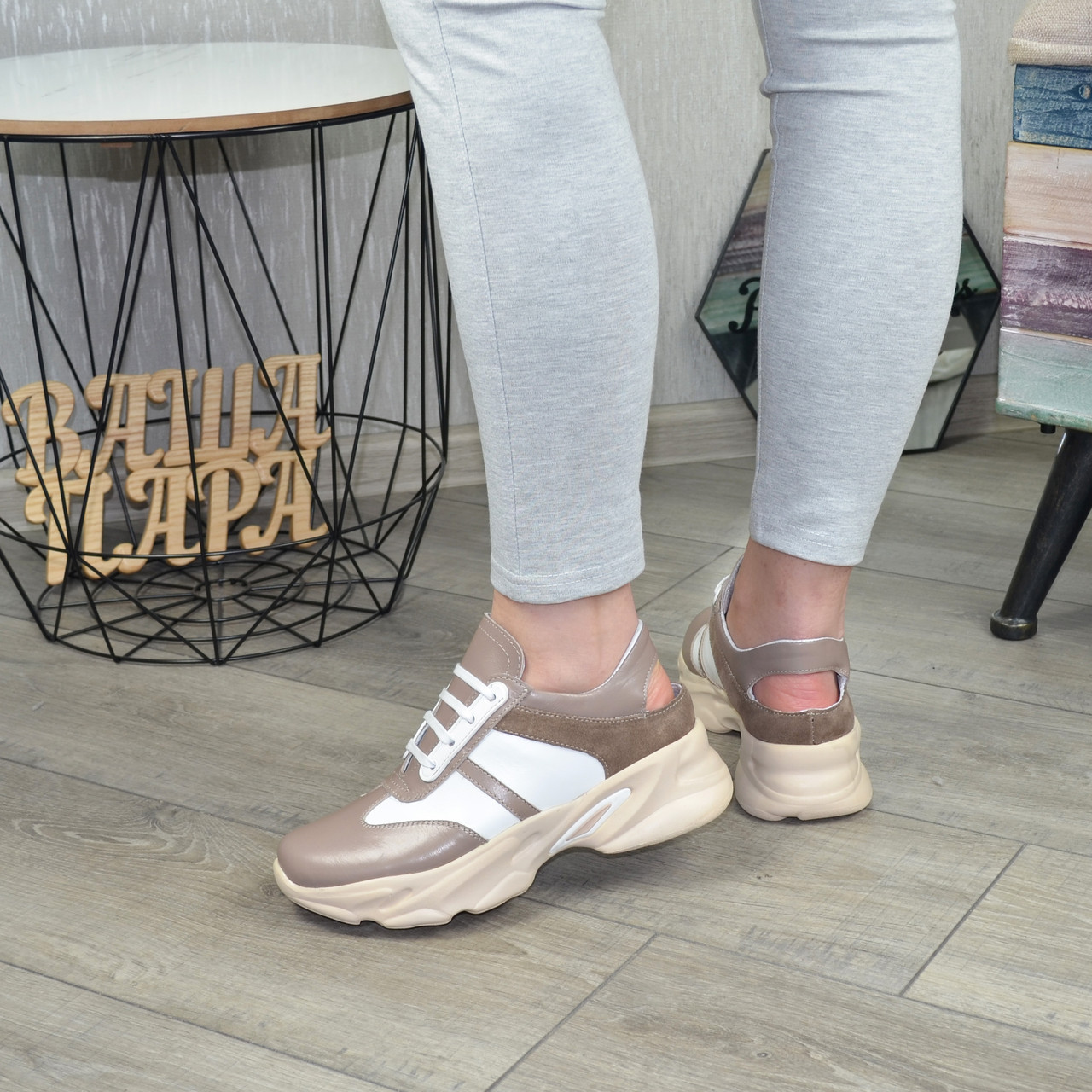 Кроссовки женские кожаные на шнуровке с открытой пяткой