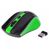 Мишка бездротова оптична G-211, чорно-зелена, фото 1