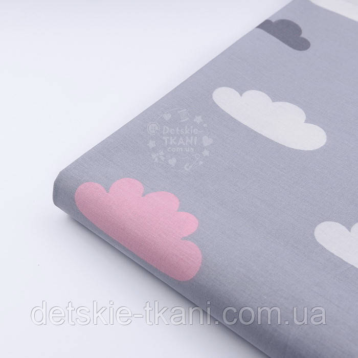 Лоскут ткани с розовыми и белыми облаками на сером фоне, (№1154), размер 89*33 см