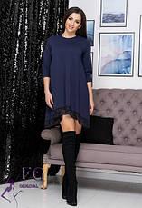Молодежное нарядное платье трапеция с кружевом ассиметричное бордовое, фото 2