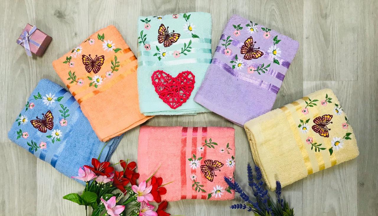 Полотенце махровое лицевое размер 50*100 бабочка с цветочком микс