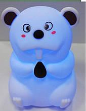 Силиконовый ночник Бобер 7 LED цветов USB ночник-светильник