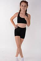 Спортивний дитячий комплект топ + шорти для гімнастики і танців Чорний, фото 1