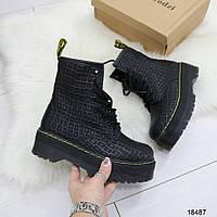 Женские демисезонные ботинки берцы на толстой платформе похожи на Dr. Martens Мартинс черные, фото 1