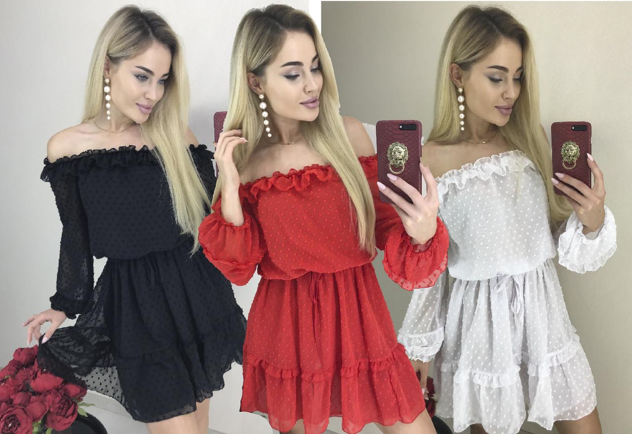 Шифоновое нарядное платье с открытыми плечами /разные цвета, 42-44, ft-445/
