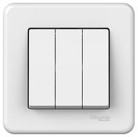 Выключатель трехклавишный белый Leona Schneider Electric